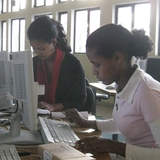 Students using new computer lab
